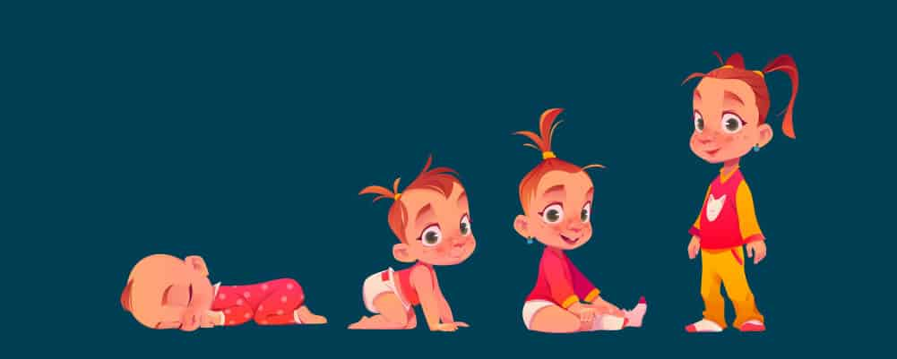 A girl from baby to toddler